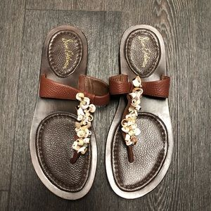 Sam Edelman Brown Leather Boho Seashell Sandals